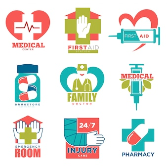 Medical cross and heart vector icons for first aid medicine or doctor hospital center