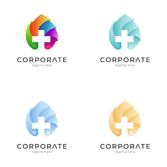 Medical cross logo template with leaf