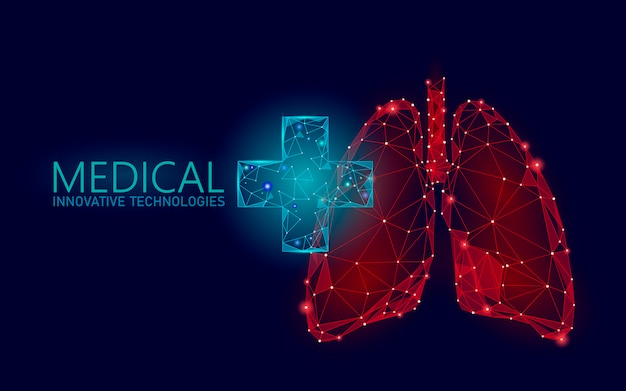 Medical cross symbol lungs doctor online concept. medical consultation app. web healthcare diagnosis drugstore network banner. delivery market background low poly