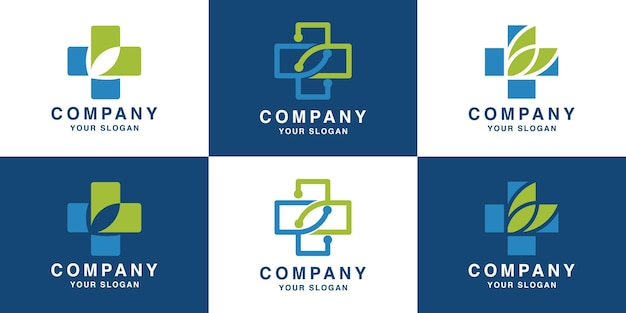 Medical cross technology logo design and business card