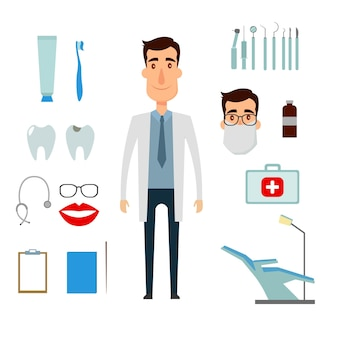 Медицинская стоматология. стоматолог в своем кабинете с инструментами. векторные иллюстрации и значки.