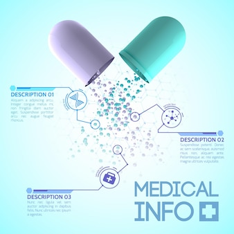 青と白のパーツで構成されたオリジナルの薬用カプセルが付いた医療デザインポスター
