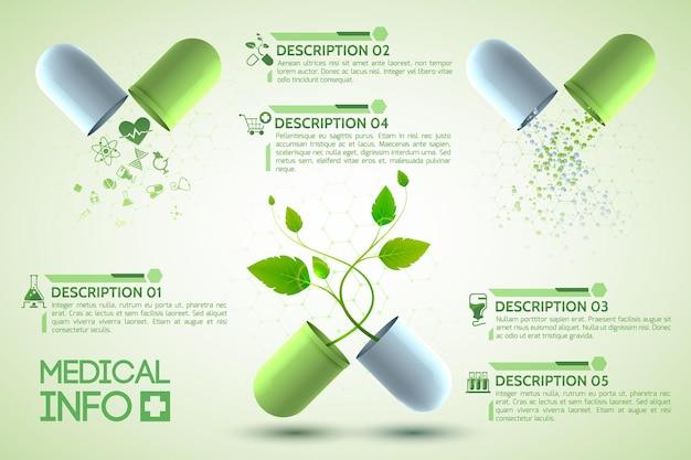 Poster di design medico con tre capsule medicinali costituite da due parti