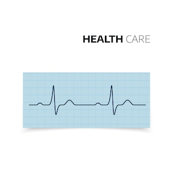 Medical diagnosis of heartbeat and heart rate. cardiogram of health heart. heartbaet curve on graph paper. illustration