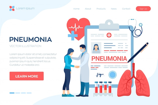 Medical diagnosis - pneumonia. lungs infection. doctor taking care of patient. landing page