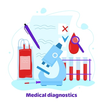 Medical diagnostic and blood test banner cartoon vector illustration isolated