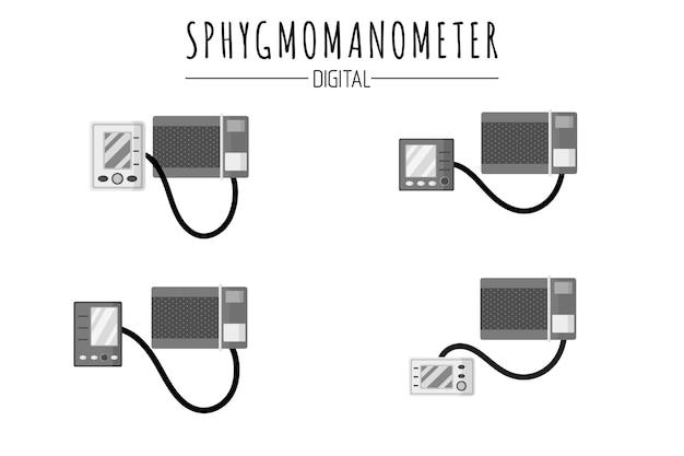 혈압 디지털 혈압계 또는 혈압계 제어용 의료 진단 장치. 프리미엄 벡터