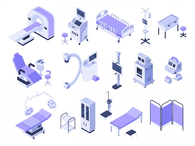 Medical diagnostic equipment, healthcare monitoring and health care diagnostics technology 3d vector set