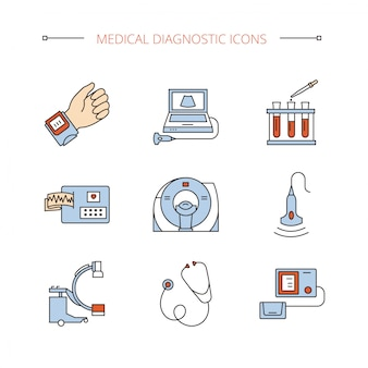 Medical diagnostic icons set in vector isoleted objects.