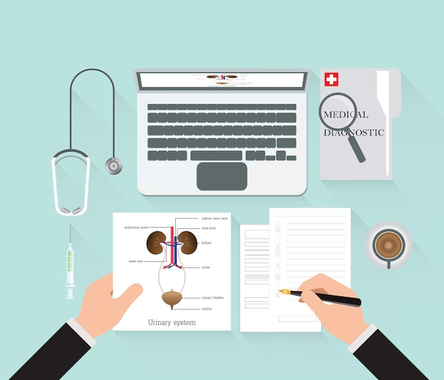 作業テーブル上の概念的な診断
