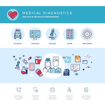 Medical diagnostics, medicine research laboratory web template
