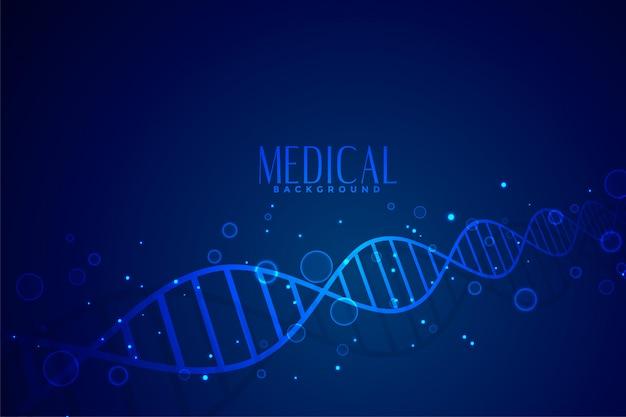 Dna medico nel disegno di sfondo di colore blu
