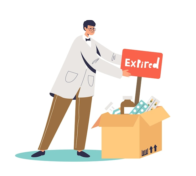 Medical doctor and box of expired medicines tablets and bottles of pills. safe pharmacy and treatment concept