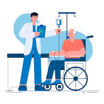 Medical a doctor caring for an elderly person flat illustration