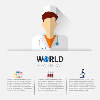 Medical doctor health world day global holiday banner with copy space