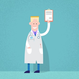 Medical doctor holding paper document analysis