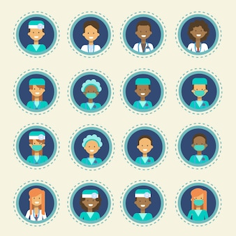 Medical doctor icons set clinics hospital medicine worker online consultation button collection