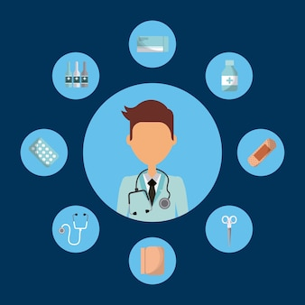 Medical doctor man with medicine equipment icons around o
