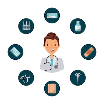 Medical doctor man with medicine equipment icons around