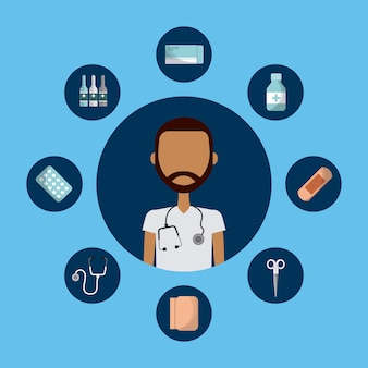 Medical doctor man with medicine equipment icons