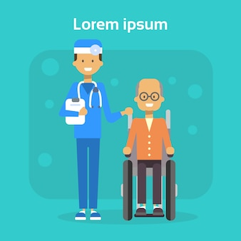 Medical doctor with senior man on wheel chair happy old male disabled smiling sit on wheelchair disability concept