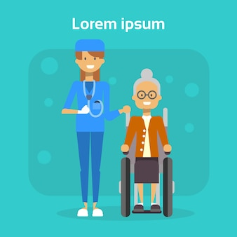 Medical doctor with senior woman on wheel chair happy old female disabled smiling sit on wheelchair disability concept