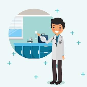 Врач с помощью первой помощи стетоскопа