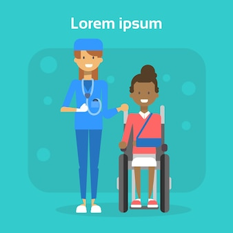 Medical doctor with young woman on wheel chair happy african american female disabled smiling sit on wheelchair disability concept
