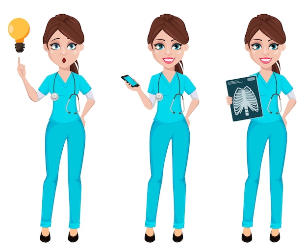 Женщина врач, набор из трех поз