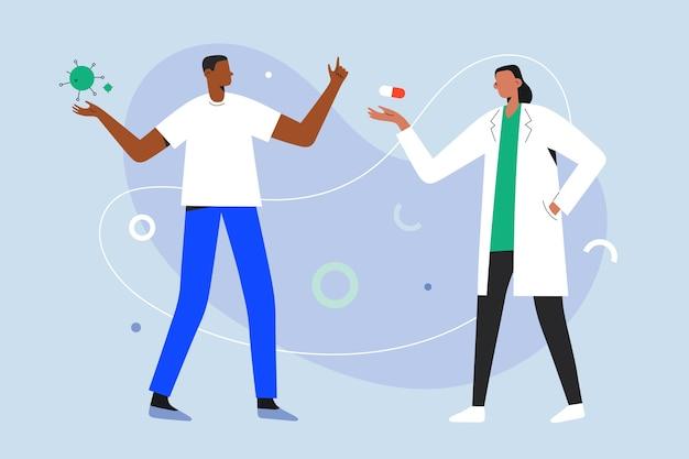 コロナウイルス感染症の治療法について話し合う医師
