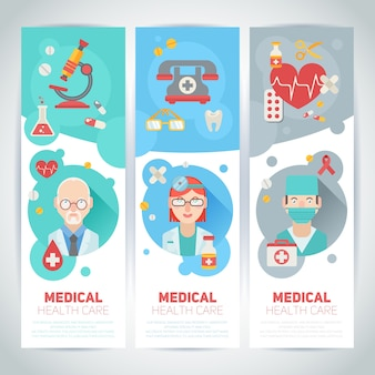 Medical doctors portraits on banners