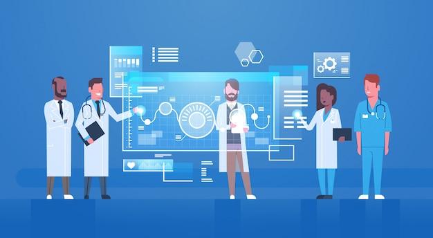 医師はデジタル画面上のボタンを押します近代的な革新的な医学技術の概念virtua