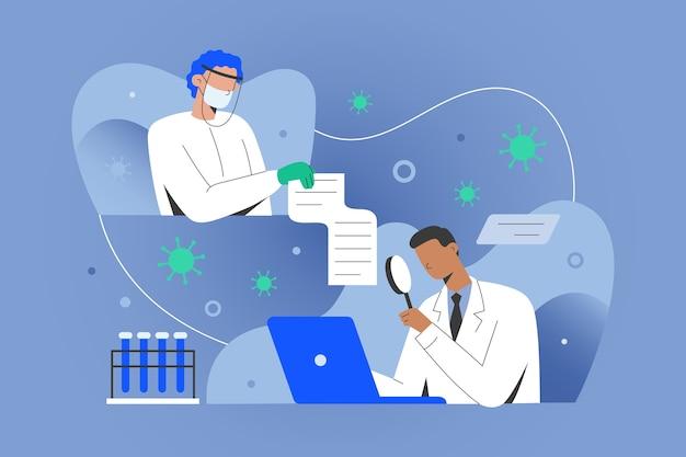 コロナウイルスワクチンに関するデータを共有する医師