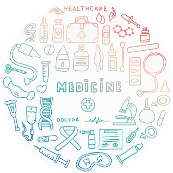 의약품 시험관과 온도계가 있는 의료 낙서 포스터 큰 약국 세트