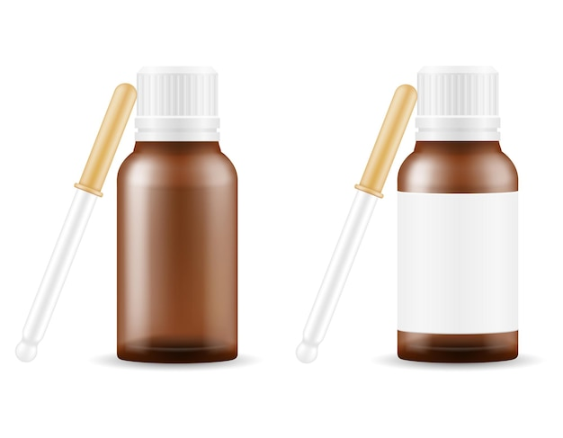 Medical drops in a glass bottle for the treatment of diseases empty template