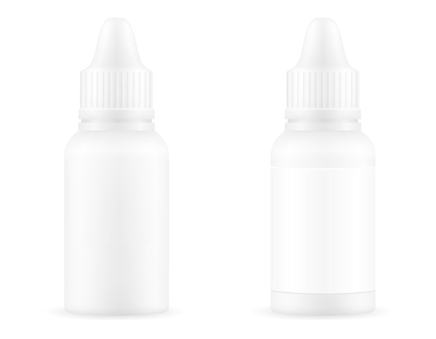 Medical drops in a plastic bottle for the treatment of diseases empty template