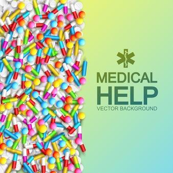 Modello di farmaci e pillole mediche con testo e farmaci colorati su illustrazione verde chiaro