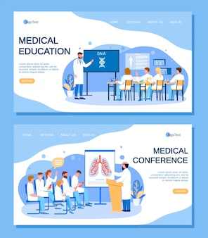 Medical education, conference with doctors people landing page set