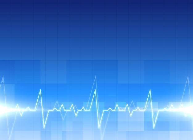 Медицинский фон электрокардиограммы в синем цвете