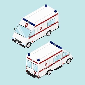 의료 응급 지원. 하얀 구급차. 플랫 아이소메트릭. 구급차 아이콘 디자인입니다. 벡터 일러스트 레이 션.