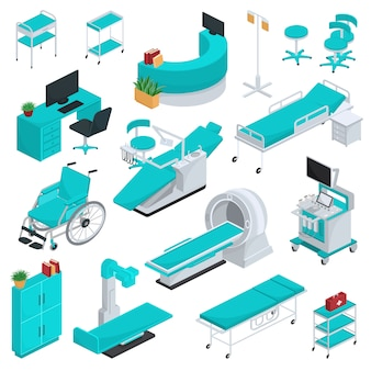 Medical equipment   clinic technology healthcare treatment in hospital illustration medicable set