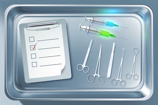 Medical equipment concept with syringes forceps scalpel scissors clipboard in metal sterilizer isolated illustration