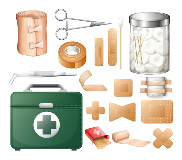 Medical equipment in firstaid box