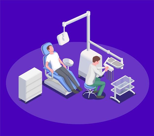 Composizione nell'illustrazione di apparecchiature mediche con poltrona operatoria odontoiatrica e caratteri umani del chirurgo paziente e dentista
