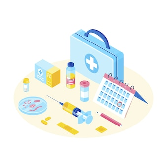 Medical equipment isometric color vector illustration.