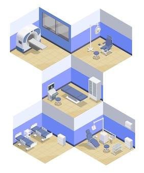 Composizioni isometriche di apparecchiature mediche impostate con viste interne di stanze di ospedale dotate di apparecchi terapeutici professionali