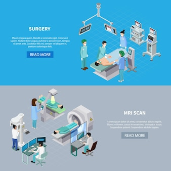 Medical equipment isometric set of two horizontal banners with read more button editable text and images