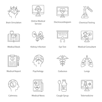 Medical equipment line icons pack