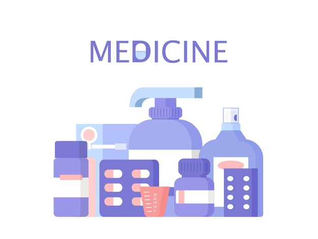 Medical equipment and medications tablets capsules sprays and disposable cup vector illustration
