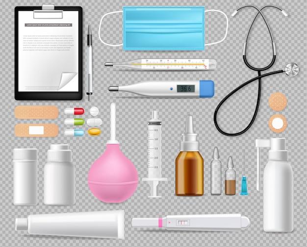 Insieme dell'attrezzatura medica isolato su realistico bianco. maschera di protezione. test, aghi e termometro illustrazioni 3d